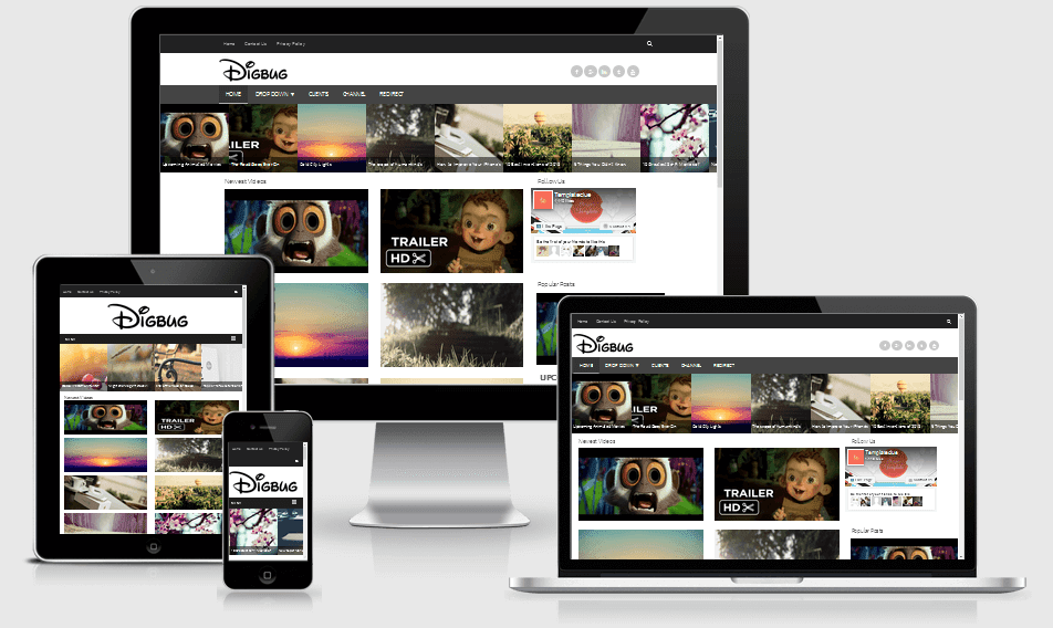 Digbug Responsive Video Blogger Template