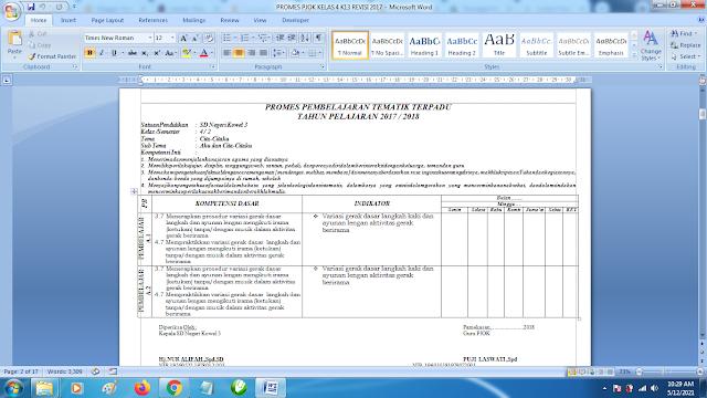 Contoh Promes PJOK Kelas 4 SD Semester 2 Kurikulum 2013 Revisi Terbaru
