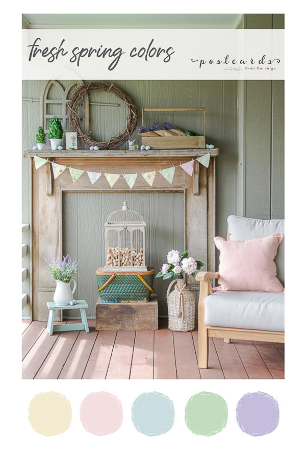rustic spring mantel with fabric banner and spring color palette