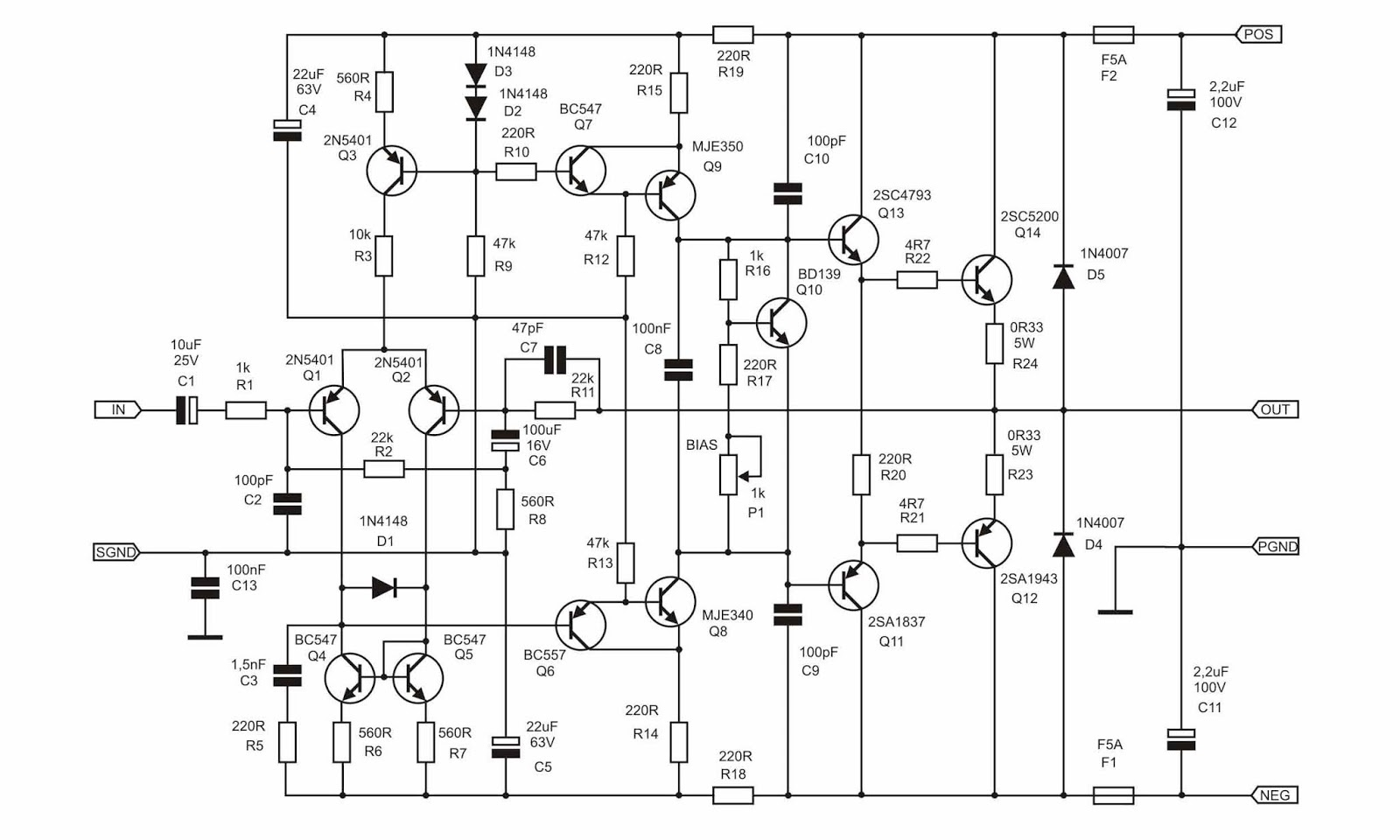 80 watt mono 2sc5200 2sa1943 ultimate fidelity amplifier circuit schematic [ 1600 x 960 Pixel ]