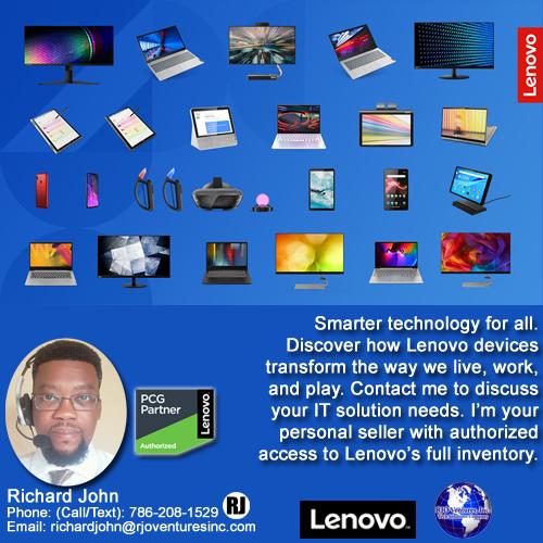 Smarter Technology! Lenovo Laptops, Tablets, Monitors, AR Games, Smart Displays [RJOVenturesInc.com]