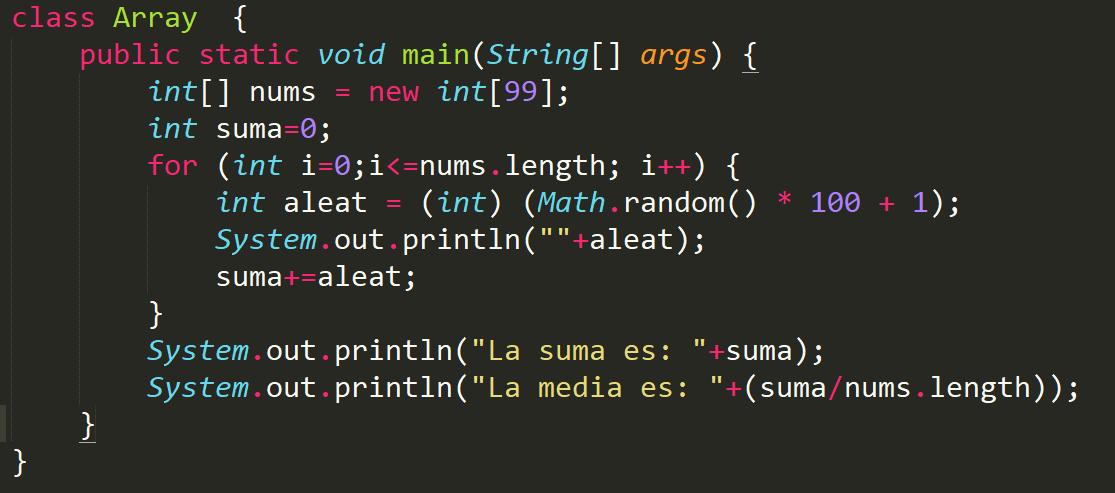 Array de números de 100 posiciones en Java