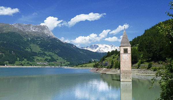 The Church of Altgraun In Lake Reschen, Italy