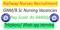 Railway Nurses Recruitment on Telephonic Whats app interview