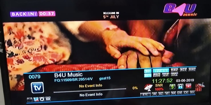 B4U Music Channel available on DD Freedish at Channel no 57