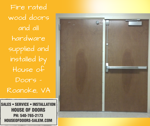 Fire rated wood doors and all hardware supplied and installed by House of Doors - Roanoke, VA