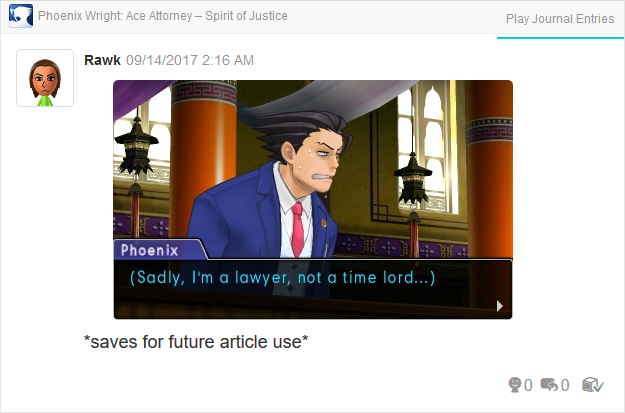 Phoenix Wright Ace Attorney Spirit of Justice lawyer not a time lord