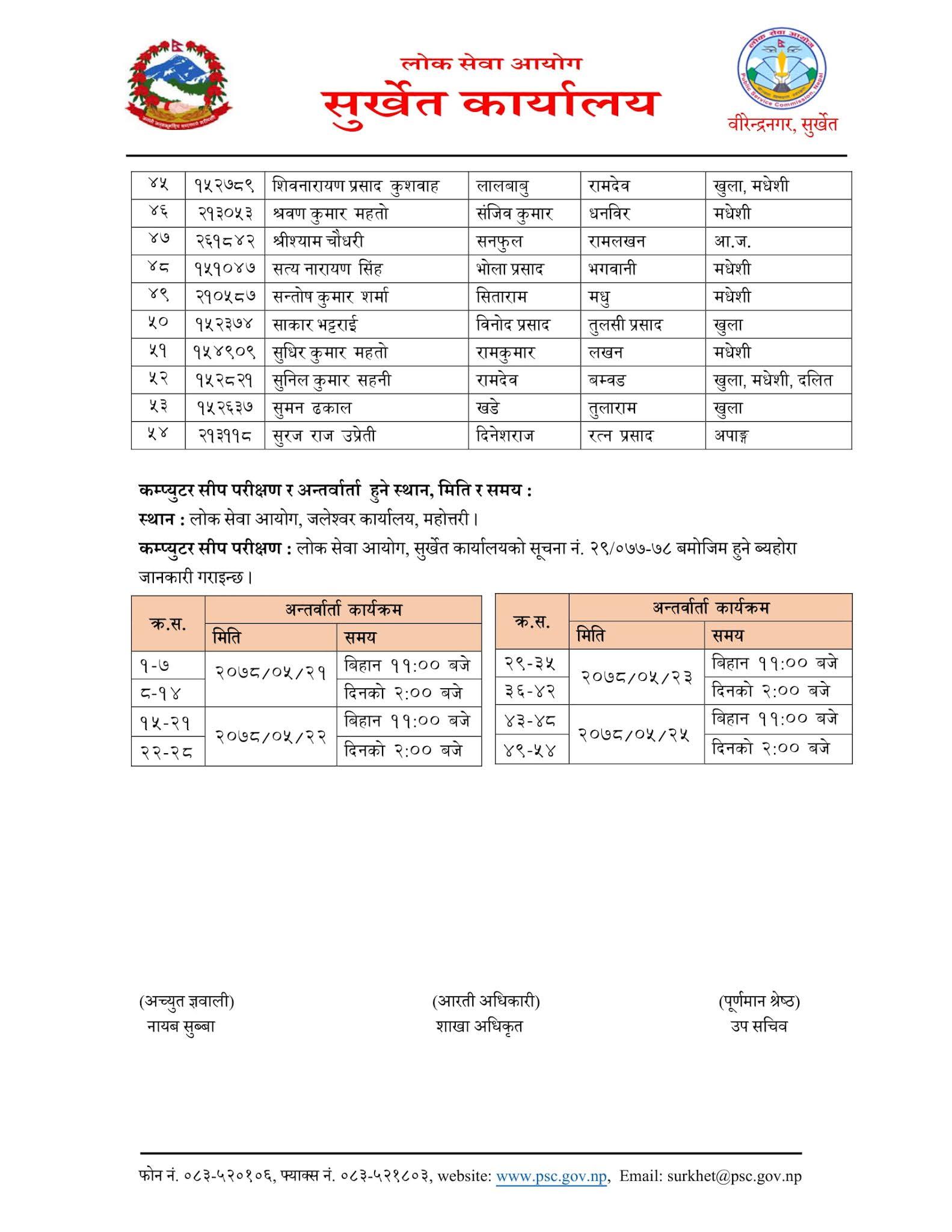 NASU Admin - Jaleshwor Lok Sewa Aayog Written Exam Result & Exam Schedule
