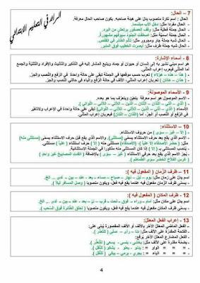 بعض القواعد المختصرة في اللغة العربية والرياضيات للسنة الرابعة والخامسة ابتدائي