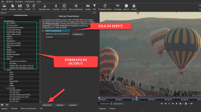 conversione di file video con shotcut