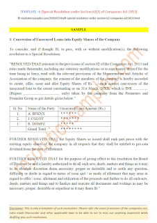 special resolution under section 62(3) of companies act 2013
