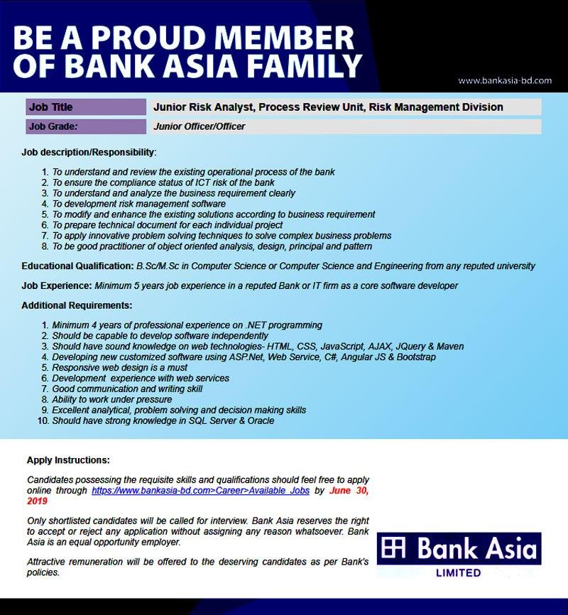 Bank Asia Job Circular 2019