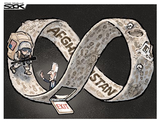U. S. Soldier walking an endless mobius strip labeled Afghanistan.  Joe Biden opens a trap door labeled