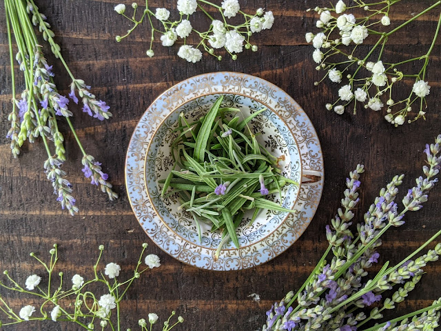 A vintage English teacup holds dried lavender leaves, surrounded by lavender buds and babysbreath flowers