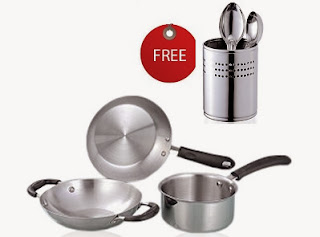 Marvel Induction Base Cookware Set of 3 Pcs worth Rs.999 for Rs.492 + FREE Cutlery Holder worth Rs.299