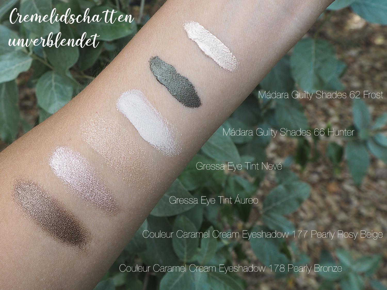 Cream Eyeshadow Swatches unverblendet von Mádara, Gressa und Couleur Caramel