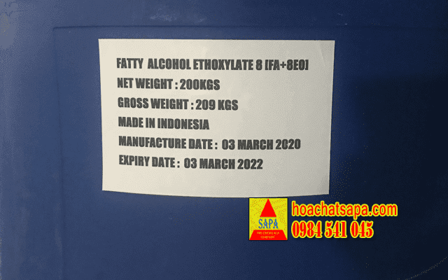 Fatty Alcohol Ethoxylate 8 (FA8+EO) - chất hoạt động bề mặt