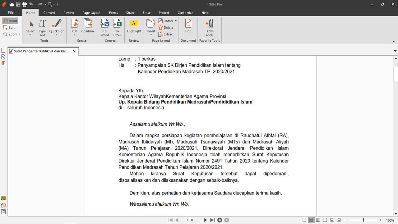 Update Kaldik Madrasah Tahun 2020-2021