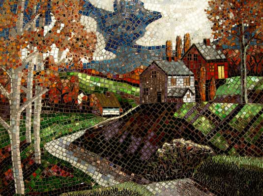 seni mosaik Autumn landscape, seni mosaik gunung, seni mosaik rumah, seni mosaik pemandangan langit dan lautan, seni mosaik pepohonan, seni mosaikhujan