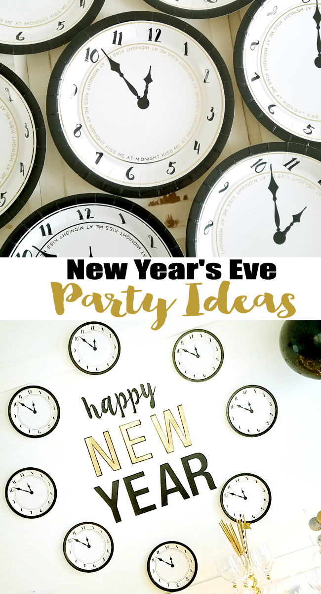new year's eve buffet table with clock paper plates wall art