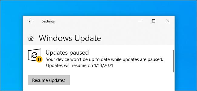 """تحديث Windows يعرض """"التحديثات متوقفة مؤقتًا"""" على نظام التشغيل Windows 10."""