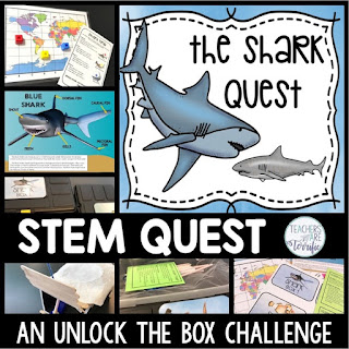 Shark Unlock the Box Quest with a STEM Challenge to build a Shark Trap!