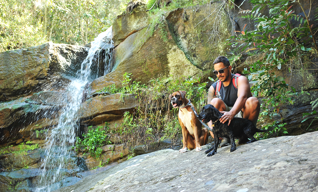 Marc from Barc for Pets sits with two dogs next to a waterfall on a Sydney track