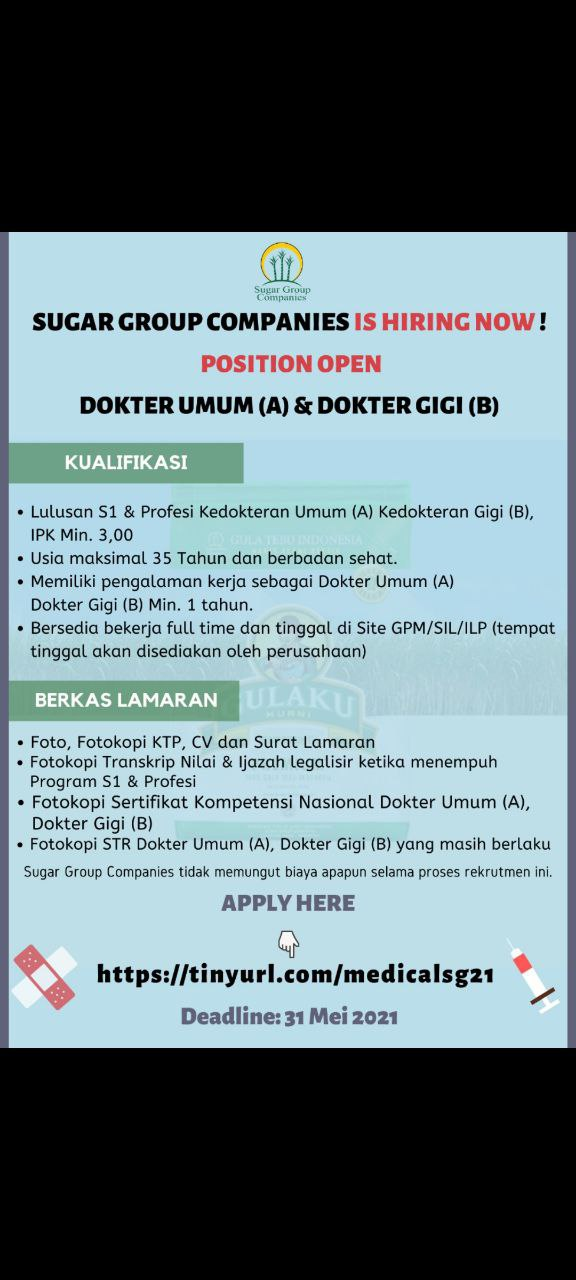 "Loker Dokter Umum ""Sugar Group Companies"""
