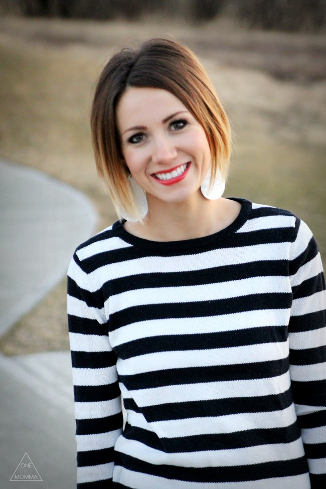 Navy stripes, destroyed denim, red lip, and Lily Jade bag