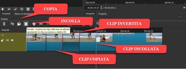 aggiunta di una clip invertita tra due clip originali