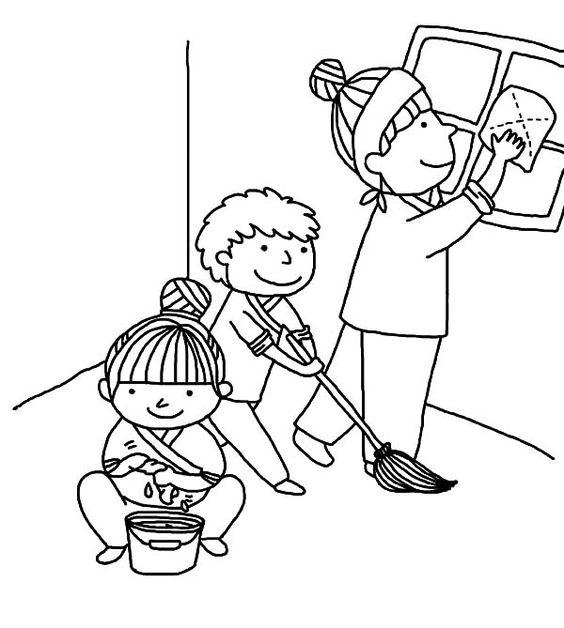 Hình tô màu bé lau dọn nhà giúp mẹ