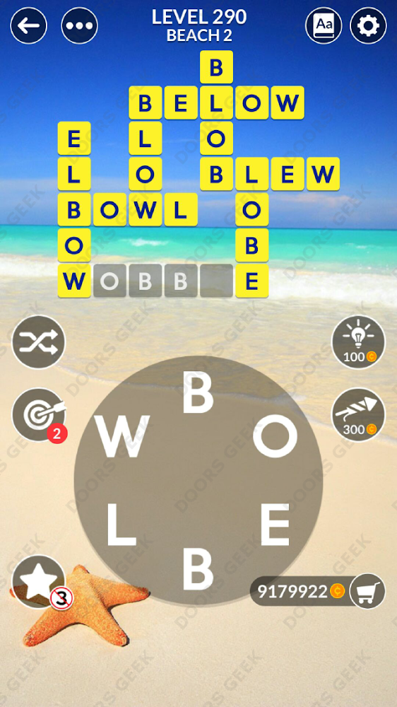 Wordscapes Level 290 answers, cheats, solution for android and ios devices.