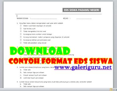 Contoh Evaluasi Diri Siswa (EDS) Format Word -- Galeri Guru