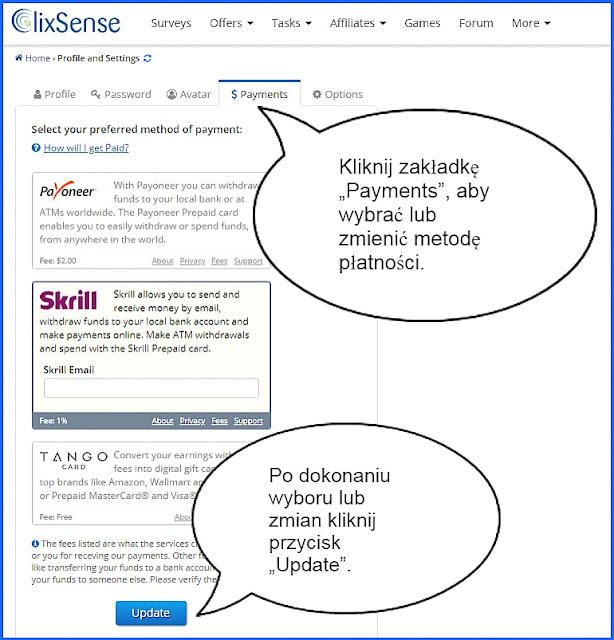 ClixSense, wybór procesora płatności.