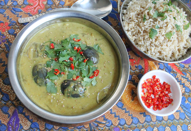 Food Lust People Love: This baby eggplant curry is spicy and warming, the perfect dinner on cold night or even a hot one! Serve with brown or white rice to complete the meal.
