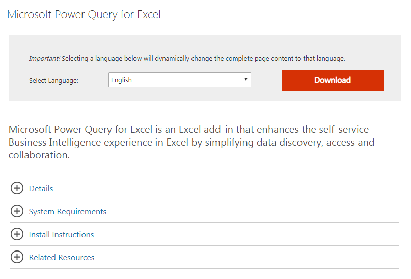 Download Add-in Power Query