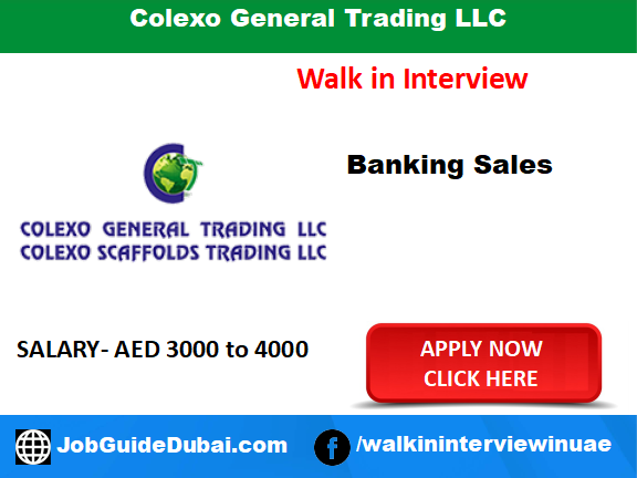 Colexo General Trading LLC career for sales staff for job in Dubai