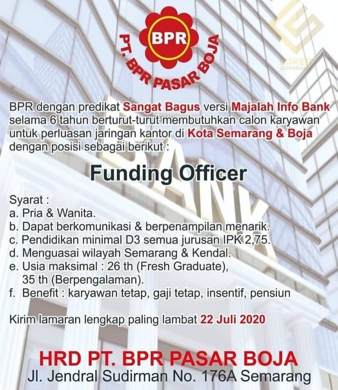 Lowongan Kerja di BPR Pasar Boja Semarang Untuk Posisi Funding Officer