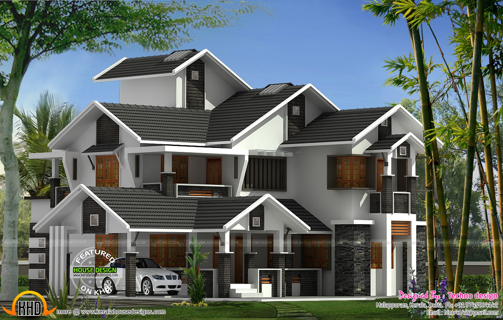 Sloped roof modern home - Kerala home design and floor plans