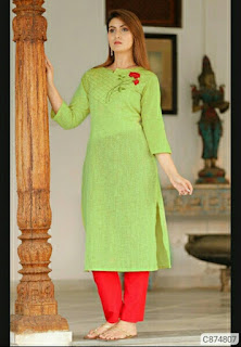 Trendy Cotton Solid With Embroidery Kurti & Pant Sets