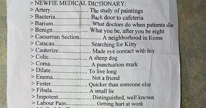 the earth plan  newfie medical dictionary