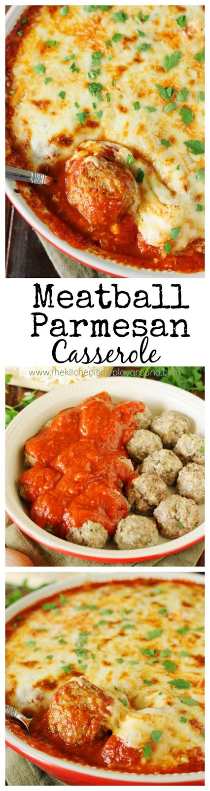 Bake up just five simple ingredients to enjoy the cheesy, saucy goodness of this Meatball Parmesan Casserole!  Spoon it over noodles or warm garlic bread slices for one super easy and satisfying meal.  It makes for a great filling for meatballs subs, too.