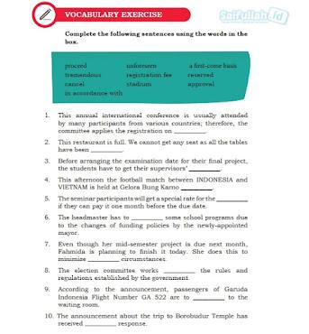 Pembahasan Soal Bahasa Inggris Chapter 6 Halaman 88 Vocabulary Exercise