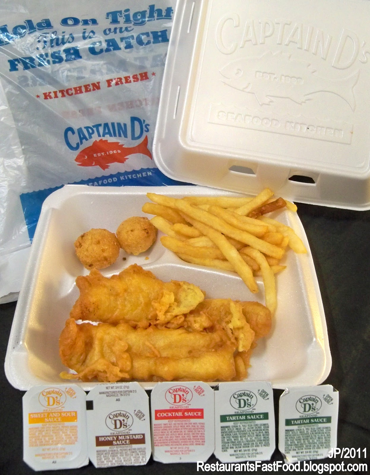 Captain D S Seafood Fish Fries Dinner Fast Food Restaurant Fried French Hush Puppies