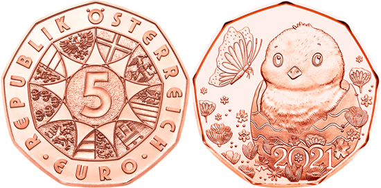 Austria 5 euro 2021 - Easter - A little miracle
