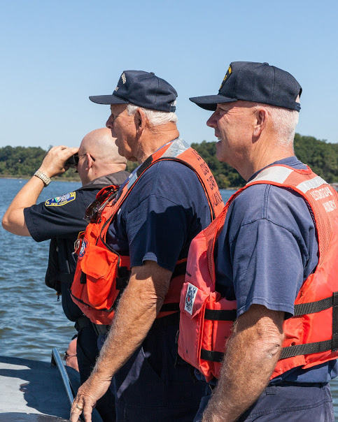 LT Slater (far left), AUX John Fisher (middle) and AUX Greg Porteus (far right) searching for the lost datum during the Search and Rescue training operation.