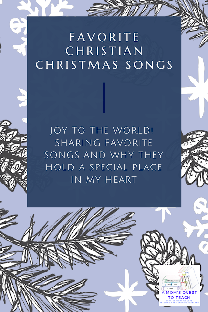 Text: Favorite Christian Christmas Songs - Joy to the World; Sharing songs that hold a special place in my heart; pine cone background