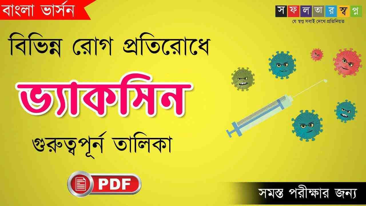 বিভিন্ন রোগের ভ্যাকসিনের নাম তালিকা PDF || List of Diseases and Their Vaccines Names In Bengali || বিভিন্ন রোগের টিকার নাম