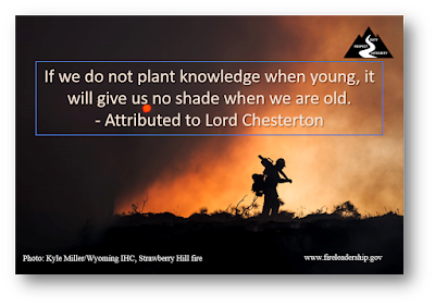 If we do not plant knowledge when young, it will give us no shade when we are old.  - Attributed to Lord Chesterton  [Photo: Kyle Miller/Wyoming IHC, Strawberry Hill fire]