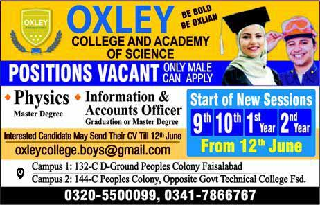 Faculty required in Oxley College & Academy of Science